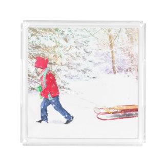 Bandeja De Acrílico Feriados do Natal do menino do trenó do inverno da