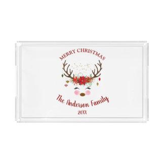 Bandeja De Acrílico Festa natalícia bonito do Natal da rena