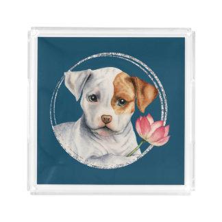 Bandeja De Acrílico Filhote de cachorro que guardara a flor de Lotus