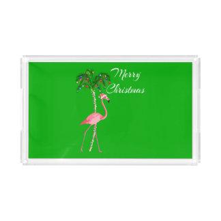 Bandeja De Acrílico Flamingo do Feliz Natal
