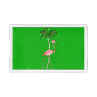 Bandeja De Acrílico Flamingo do Natal