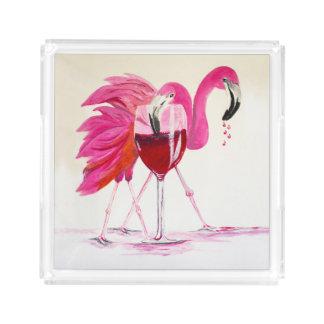 Bandeja De Acrílico Flamingos no vinho