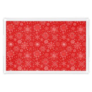 Bandeja De Acrílico Flocos de neve brancos no vermelho do Natal