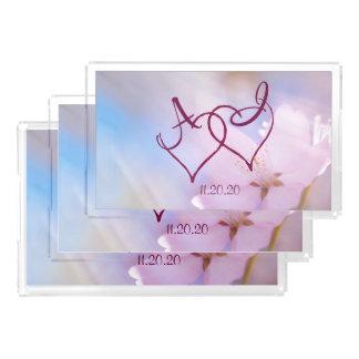 Bandeja De Acrílico Flor de cerejeira cor-de-rosa