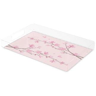 Bandeja De Acrílico Flor de cerejeira - rosa