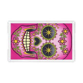 Bandeja De Acrílico Floral magenta do crânio do açúcar