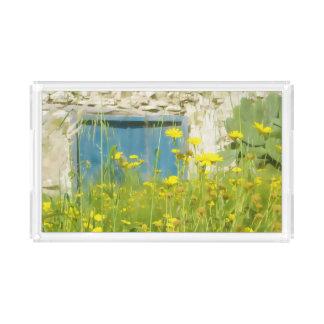 Bandeja De Acrílico Flores amarelas da aguarela
