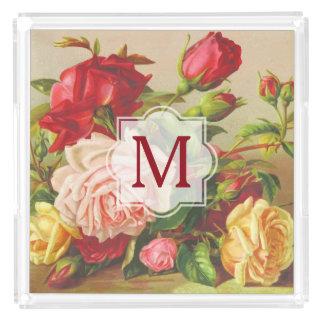Bandeja De Acrílico Flores do buquê dos rosas do Victorian do vintage
