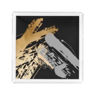 Bandeja De Acrílico folha de ouro elegante do falso e brushstrokes