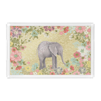 Bandeja De Acrílico Folha de ouro floral do quadro do elefante
