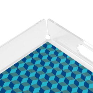 Bandeja De Acrílico Formas azuis monocromáticas à moda do diamante