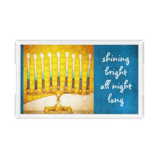 """Bandeja De Acrílico Foto """"brilhante"""" de brilho do menorah de Hanukkah"""