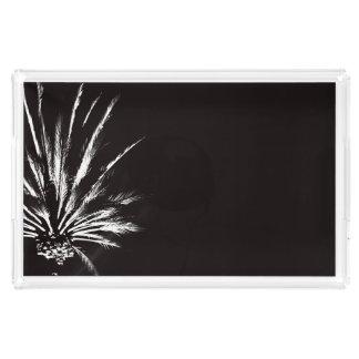 Bandeja De Acrílico Foto preto e branco da noite dramática da palmeira