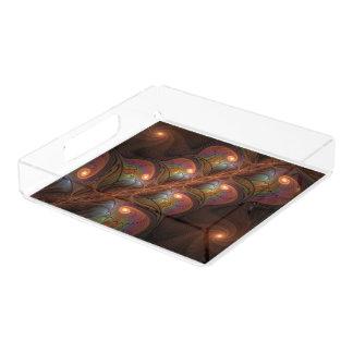 Bandeja De Acrílico Fractal moderno abstrato fluorescente colorido de