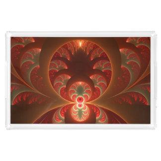 Bandeja De Acrílico Fractal moderno abstrato luminoso do vermelho
