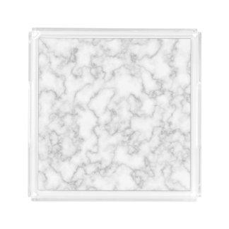Bandeja De Acrílico Fundo de pedra marmoreado de mármore do branco