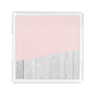 Bandeja De Acrílico geométrico de madeira branco do rosa pastel do