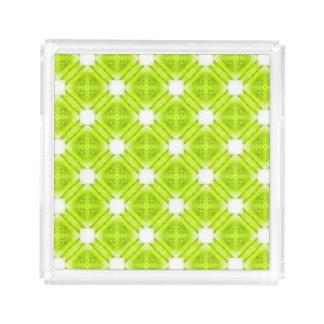Bandeja De Acrílico Geométrico verde e branco do quivi