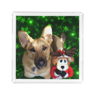 Bandeja De Acrílico German shepherd, rena do brinquedo, flocos de neve