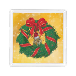 Bandeja De Acrílico Grinalda bonito do Natal do Chipmunk