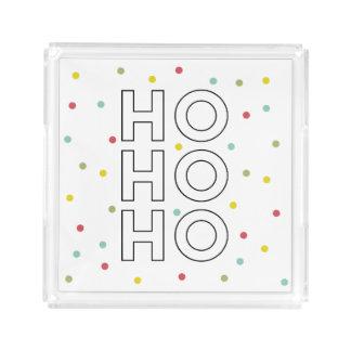 Bandeja De Acrílico Ho Ho Ho o confete colorido pontilha o feriado
