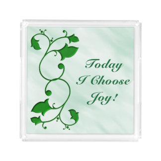 Bandeja De Acrílico Hoje eu escolho as folhas verdes entrelaçadas