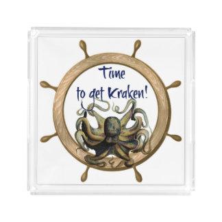Bandeja De Acrílico Hora de obter Kraken com roda dos navios