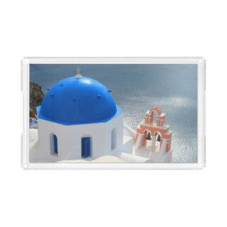 Bandeja De Acrílico Igreja de Santorini na tarde Sun