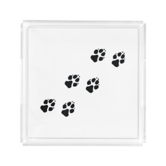 Bandeja De Acrílico Impressões da pata de um cão