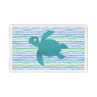 Bandeja De Acrílico Listra de Shibori da tartaruga de mar da aguarela