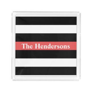Bandeja De Acrílico Listrado vermelho, branco e preto personalizado