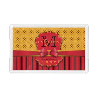 Bandeja De Acrílico Listras amarelas retros do vermelho das bolinhas