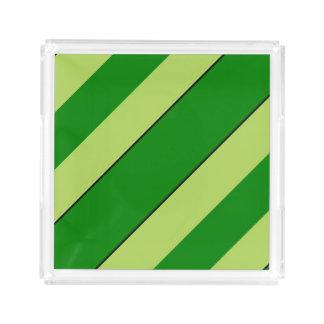 Bandeja De Acrílico Listras claras e verdes escuro