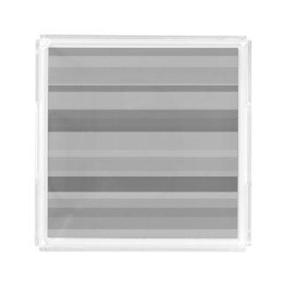 Bandeja De Acrílico Listras horizontais cinzentas