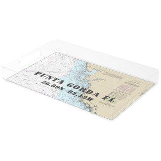 Bandeja De Acrílico Longitude náutica da latitude da carta de Punta