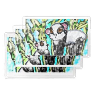 Bandeja De Acrílico Mãe e filhote da panda