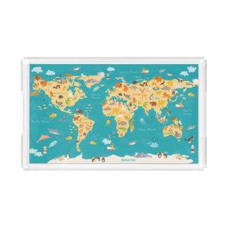 Bandeja De Acrílico Mapa animal do mundo para miúdos