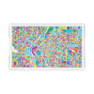 Bandeja De Acrílico Mapa colorido de Denver