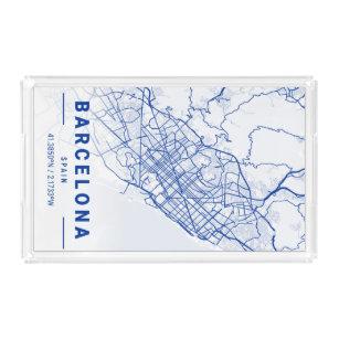 Bandeja De Acrílico Mapa da cidade de Barcelona azul
