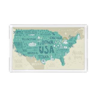 Bandeja De Acrílico Mapa do Doodle dos EUA
