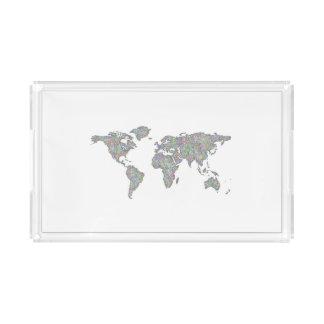 Bandeja De Acrílico Mapa do mundo