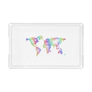 Bandeja De Acrílico Mapa do mundo do arco-íris