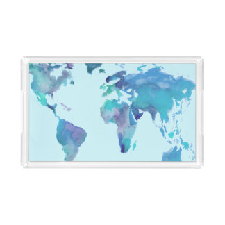 Bandeja De Acrílico Mapa do mundo do azul da aguarela