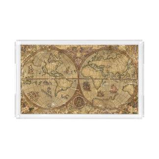 Bandeja De Acrílico Mapa do mundo do vintage