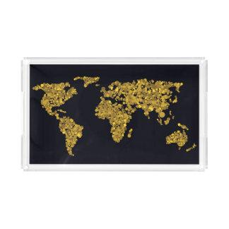 Bandeja De Acrílico Mapa do mundo dourado do ponto