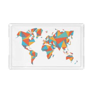 Bandeja De Acrílico Mapa do mundo geométrico abstrato