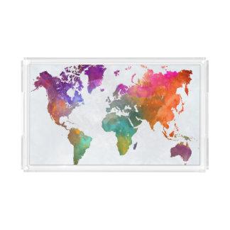 Bandeja De Acrílico Mapa do mundo na aguarela