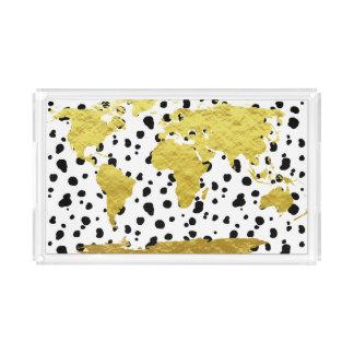 Bandeja De Acrílico Mapa do mundo na moda do ouro do falso & impressão