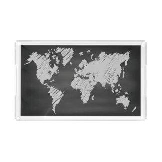 Bandeja De Acrílico Mapa do quadro do mundo