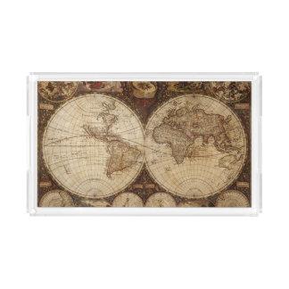 Bandeja De Acrílico Mapa do vintage